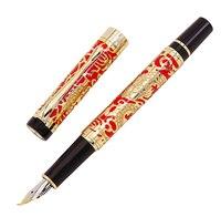 Jinhao 5000 בציר יוקרה מתכת קליגרפיה מזרקת עט כפוף ציפורן יפה הדרקון מרקם גילוף, זהב & אדום משרד עט