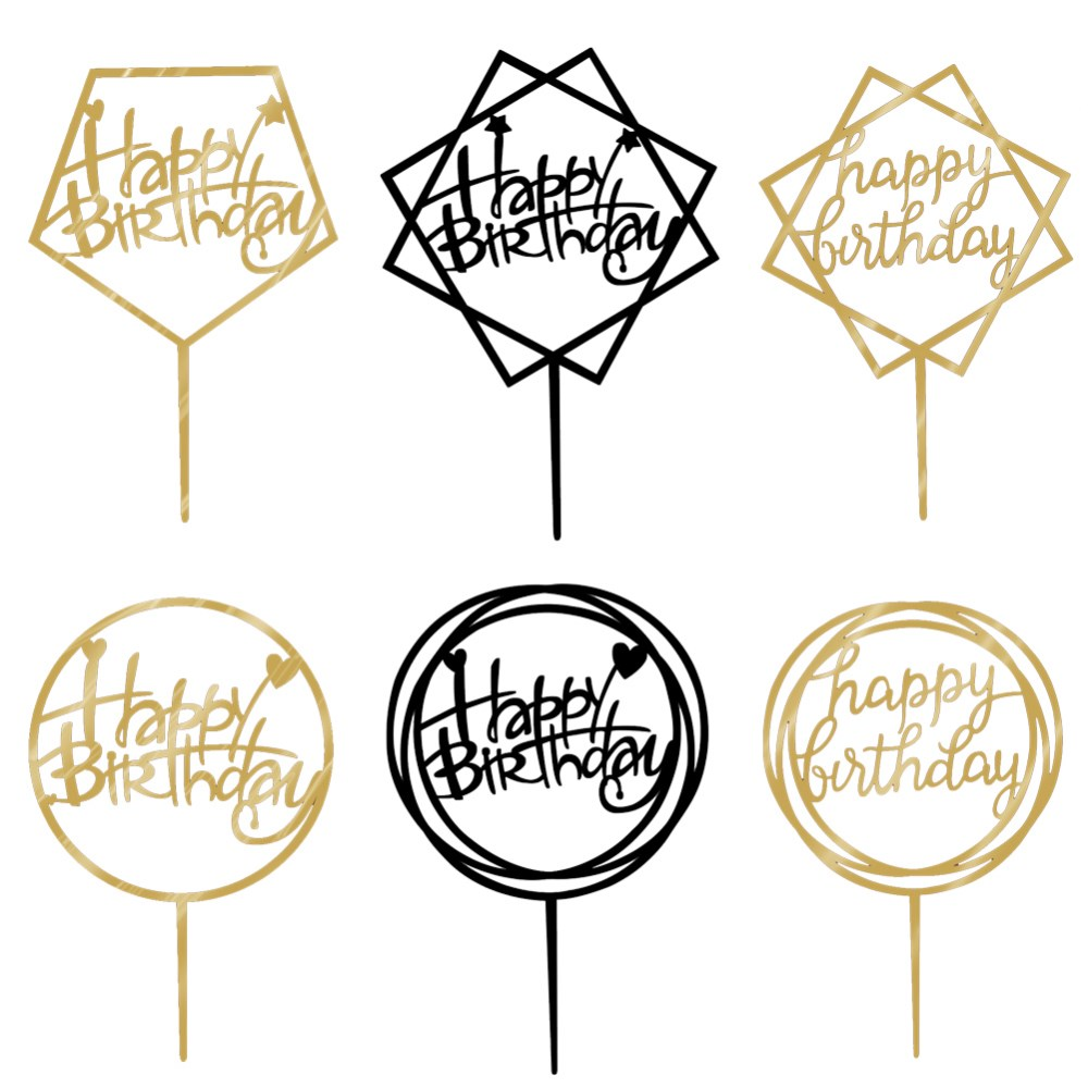 1pcs/lot Golden Acrylic Happy Birthday Cupcake Toppers ...