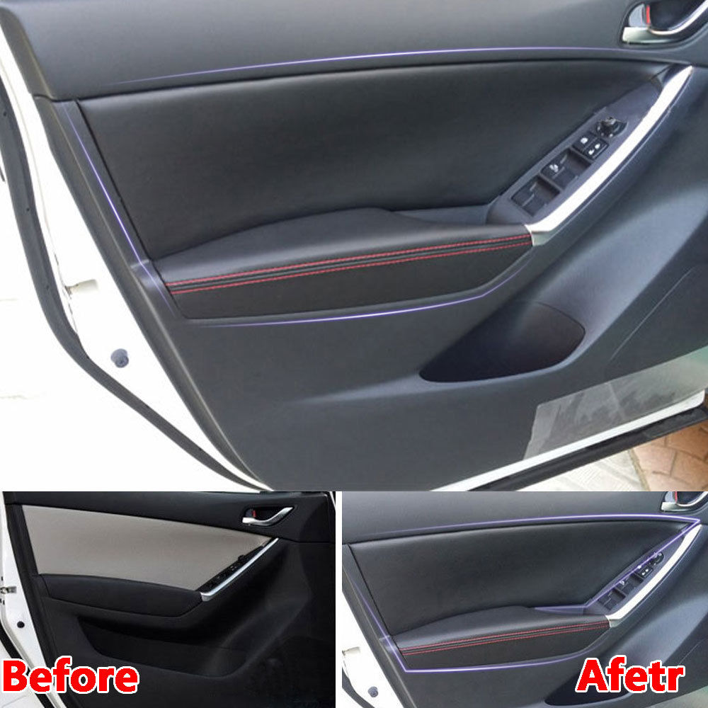 For Mazda CX-5 CX5 2016 2017 Auto Door Panel + Armrest Surface Cover Trim PU Waterproof Guard Car-Covers Car Styling Accessories for mazda cx 5 cx5 2017 2018 2nd gen lhd auto at gear panel stainless steel decoration car covers car stickers car styling
