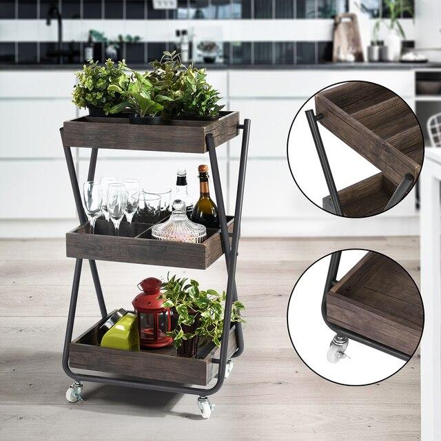 Aingoo Kitchen Trolley Kitchen Storage Cart 3 Tier Wooden Storage