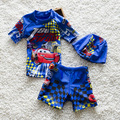 2-10 Years old Boy Summer Swim Suit Two Pieces Set With Hat Beach Cartoon Toddler   Kids Swimwear Rush Guards Trunk Shorts S2081