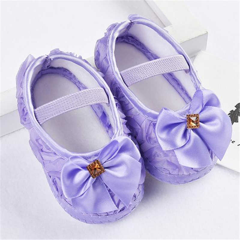 ARLONEET Baby Shoes Canvas Girl Boy Soft Sneaker 2018 Newborn Cute Rose Bowknot Elastic Band Walking Shoes