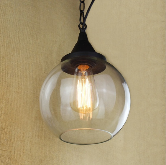 Edison Vintage American Industrial Loft Style Pendant Lights For Dinning Room With Clear Glass Lampshade,E27*1 Blub Included AC loft american edison vintage industry crystal glass box wall lamp cafe bar coffee shop hall store club