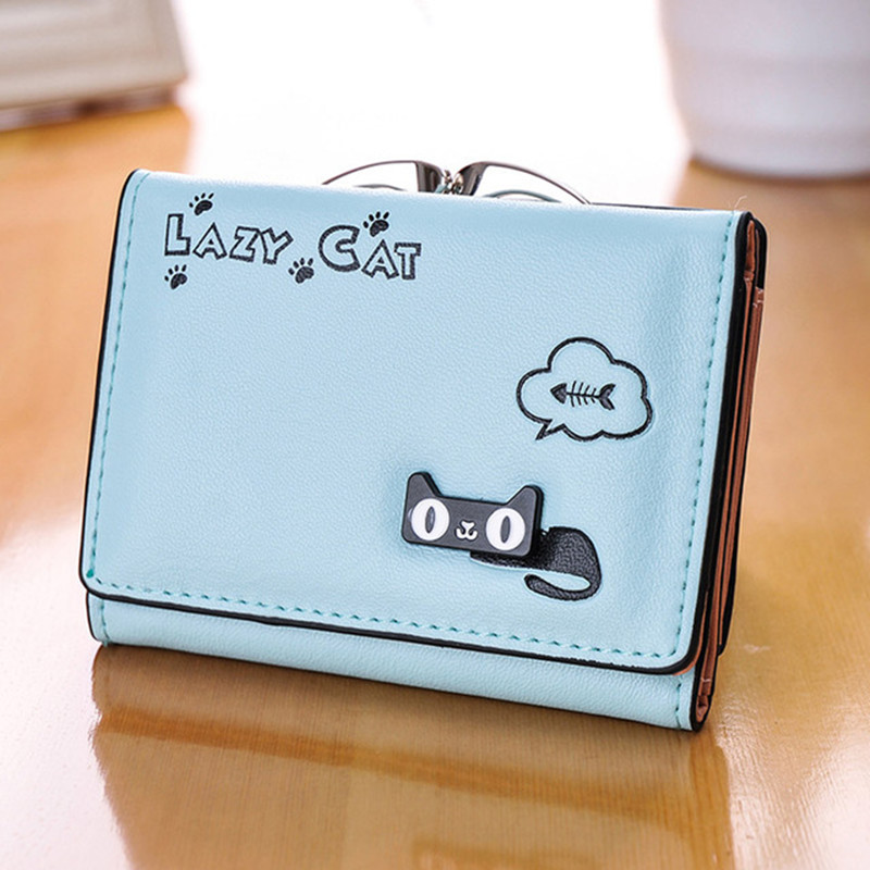 Cat Anime Women Small Wallet Hasp Zipper Design Cute Female Purse Cat Design Girls Lady Zipper Wallets Card Holder Bags anime my neighbour totoro cute card bag wallet holder zipper kawaii gray hanging