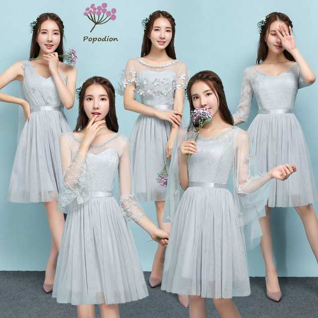 Us 20 39 49 Off 2018 Popodion Smoke Gray Color Bridesmaid Dresses Sister Wedding Party Dress Bridesmaids Dresses For Women Rom80121 In Bridesmaid