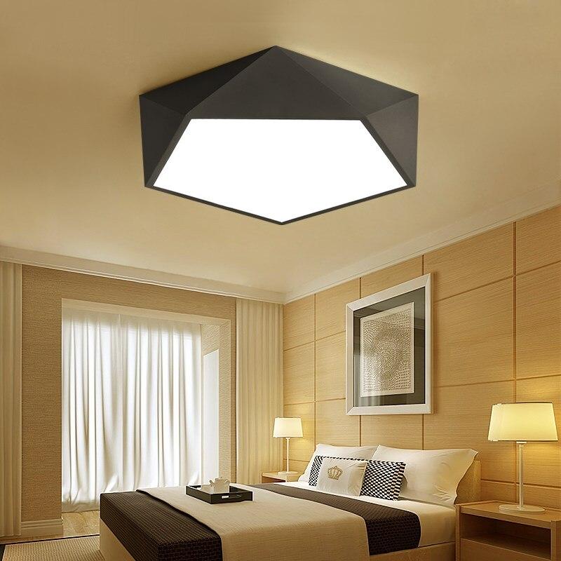 Modern Brief Creative Diamond Black Iron Ceiling Light Fixture Home Deco  Living Room Acrylic LED Remote Control Ceiling Lamp