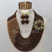 Traditional Brown Crystal Beads African Costume Jewelry Set Nigerian Wedding Necklace Bridal Jewelry Sets Free Shipping ABF824