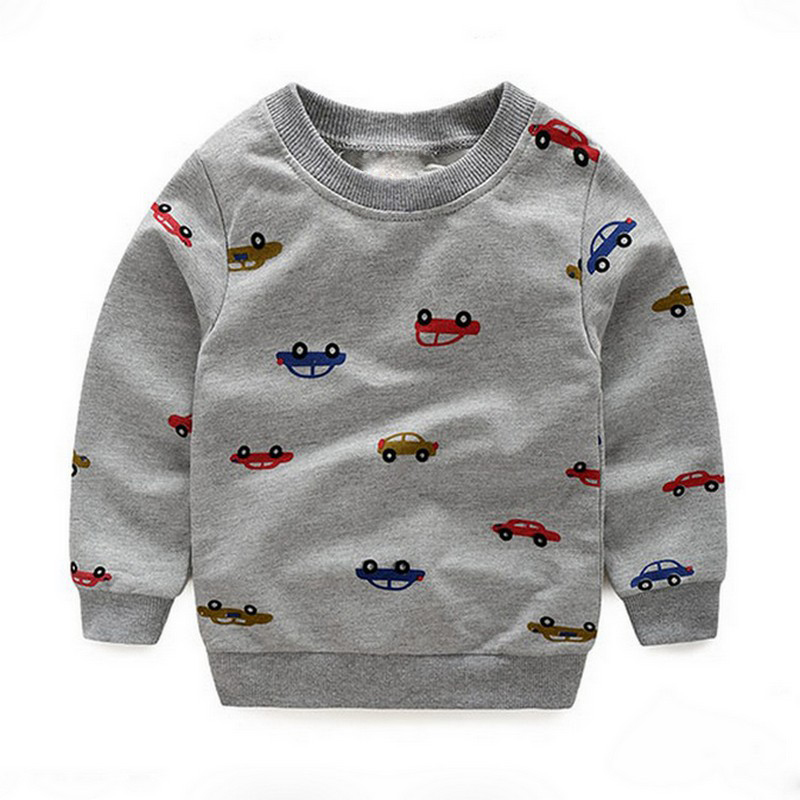 Moleton Infantil Baby Boys Roupas Hoodies Car Printed Sweatshirt Children's Pullover Outerwear All Season's Fashion Tops T-shirt