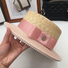 64059eb57 Rosa cor combinando pequeno vento doce chapéu de palha mulher Jane maré  chapéu de sol derretendo coringa da moda é impedido aque.