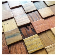 Natural Wood Tile 3D Wall Pattern Kitchen Backsplash Mosaic Tile Wood Panel Irregular Tile Mosaic Floor