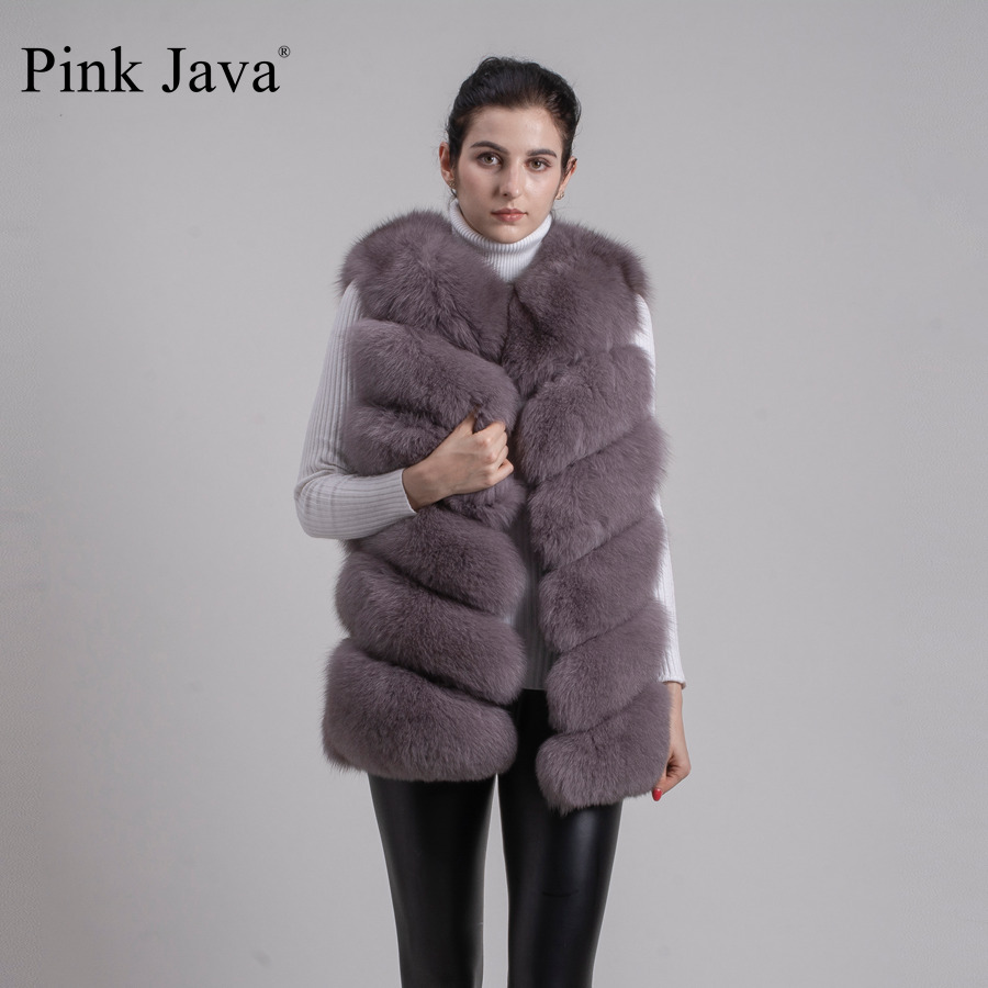 Image 2 - pink java QC8049   2016  New women real  fox fur vest high quality fur gilet hot sale fashion thick fur coat  FREE SHIPPINGgilet clothinggilets mengilet vest -
