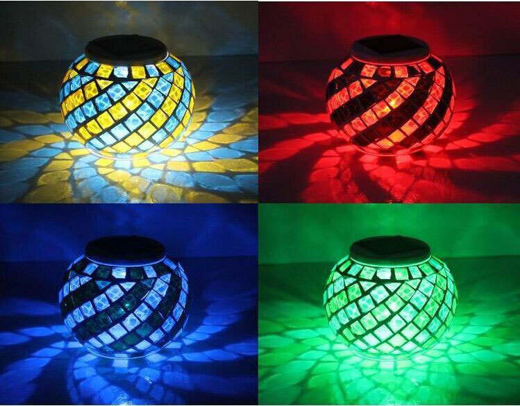 venta caliente recargable llev la luz de la vela solar mosaico de vidrio porta velas linterna