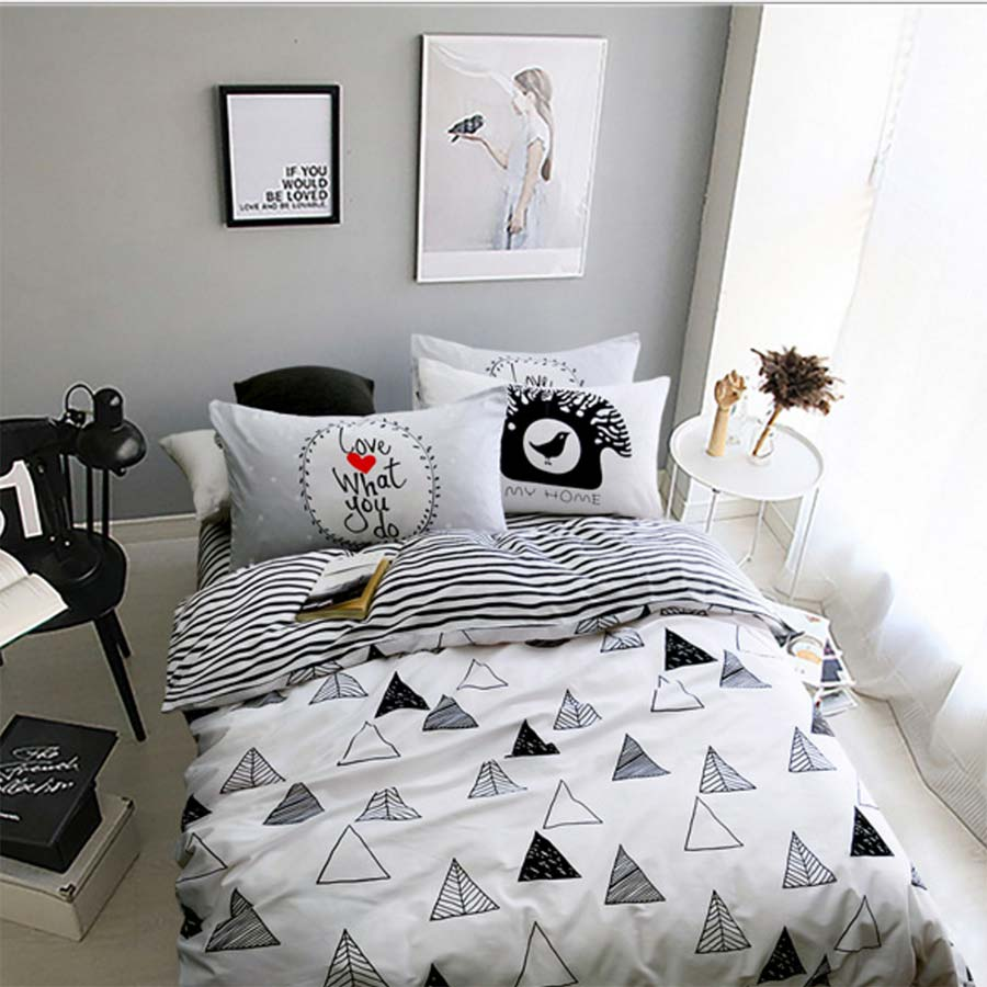 Bed sheet set black and white - Black White Geometric Bed Set Cotton Teen Kid Twin Full Queen King Single Double Home