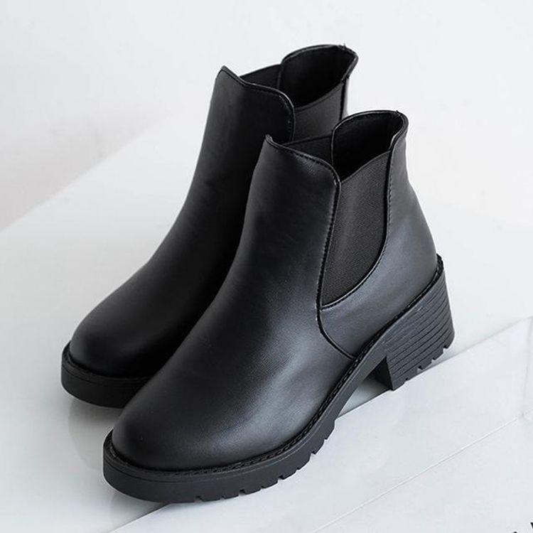 94ae7ace2ff7c 2015 New Hot Fashion New Women Faux Leather Shoes Chelsea Ankle Boots  Chunky Block Heel Slip Pumps