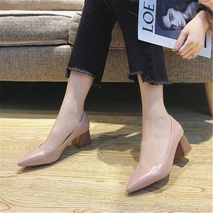 Image 3 - Pumps European style time simple comfortable high heels 2018 new pointed thick heel shoes pu single shoes wild womens shoes