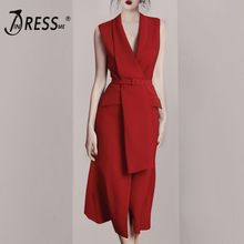 INDRESSME 2019 New Sexy Blazer Sleeveless Sashes With Buckle Red Office Lady Midi Dress