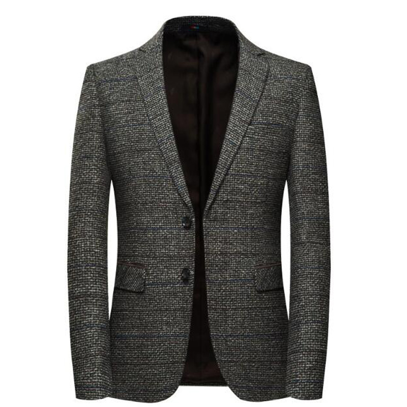 Men's Wool Striped Jacket Elbow Patch Tweed Blazers Coat Business Casual SHIERXI