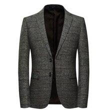 Мужской шерстяной Блейзер в полоску с нашивкой на локоть, твидовые блейзеры, пальто, деловое повседневное пальто, SHIERXI