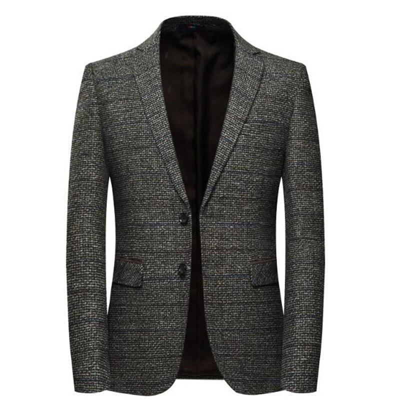 Behendig Mannen Wol Blazer Gestreepte Jas Elleboog Patch Blazer Tweed Blazers Jas Business Casual Overjas Shierxi