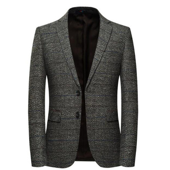Mens Striped-Wool Tweed Blazer