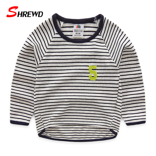 Boys T Shirt Brand 2017 Spring New Casual Simple Striped T-shirt Kids O-neck Long Sleeve Kids Clothes Boys 4913Z