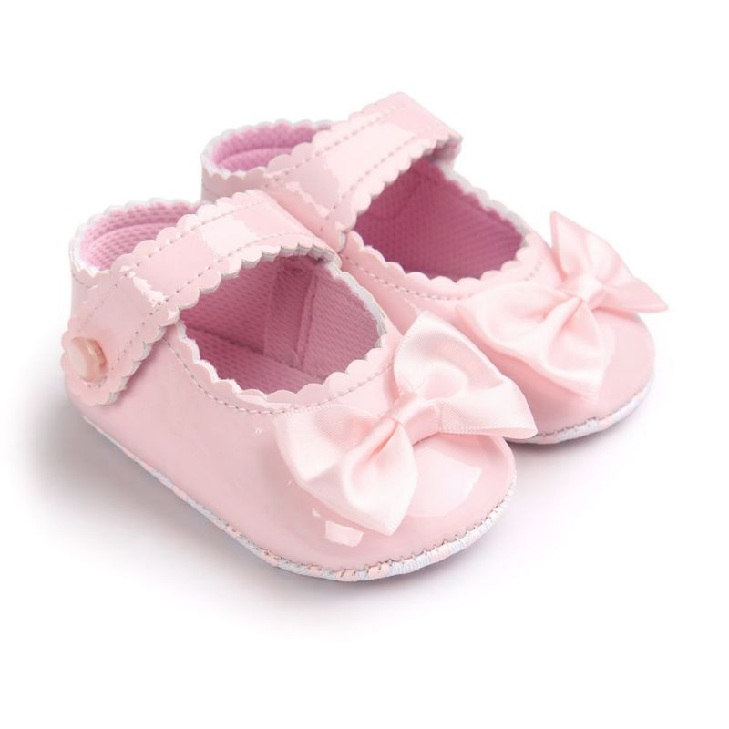 2017 Autumn Infant Baby Boy Soft Sole PU Leather First Walkers Crib Bow Shoes 0-18M Baby Moccasins