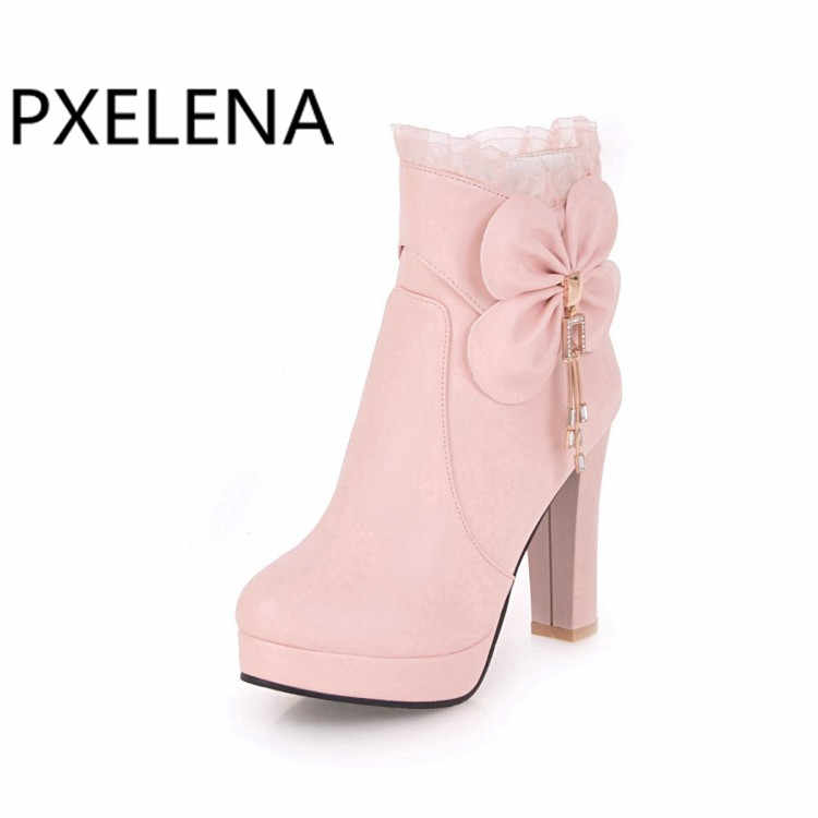 ... PXELENA Hot Sweet Ankle Boots Ladies Shoes Women Wedding Boots White  Pink Black Bowtie Ruffles High ... cdf7c7e0c62c