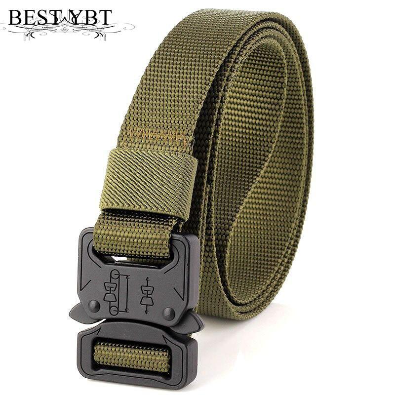 Meilleur YBT Unisexe Nylon ceinture Plus dur tactiques ventilateurs Militaires style sports de plein air loisirs nylon ceinture Alliage Insérer boucle hommes ceinture
