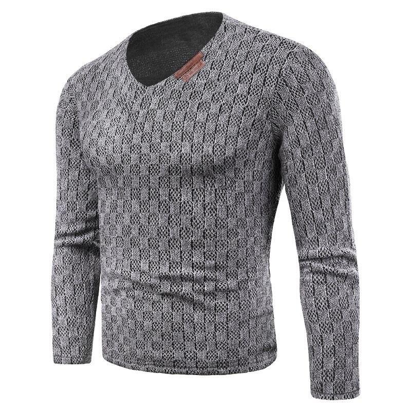 Plus Size 6XL Men Knitting Tee Shirt Fleece Liner Clothing Long Sleeve Pullover Autumn Winter Warm Velvet Leisure Top Sweaters