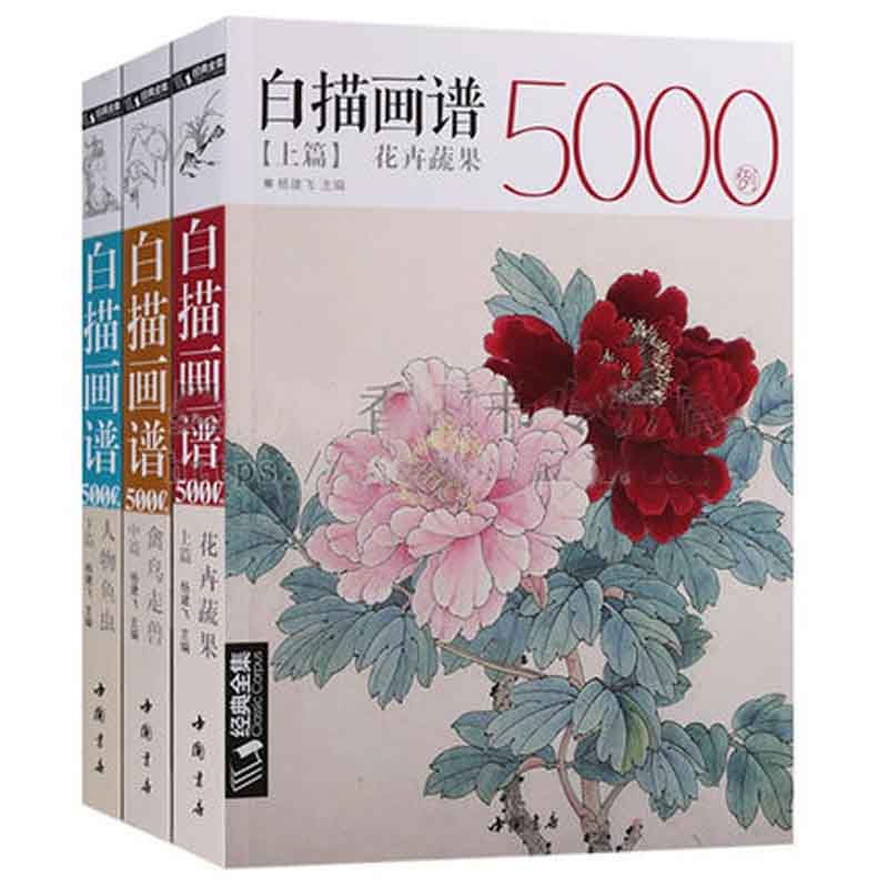 3 Book White Drawing Case 5000 Animal Birds + Flower Plants +  Fish Insect Chinese Mustard Entry Book Classic Line Painting Book