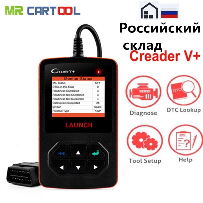 LAUNCH X431 Creader V+ OBD2 Code Reader Scanner Automotive Car Diagnostic Tool DIY Evap System Upgrade Russian Warehouse
