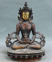 23 cm * /Old Tibet Bronze Gilt Seat Amitayus longevity God Goddess Buddha Statue