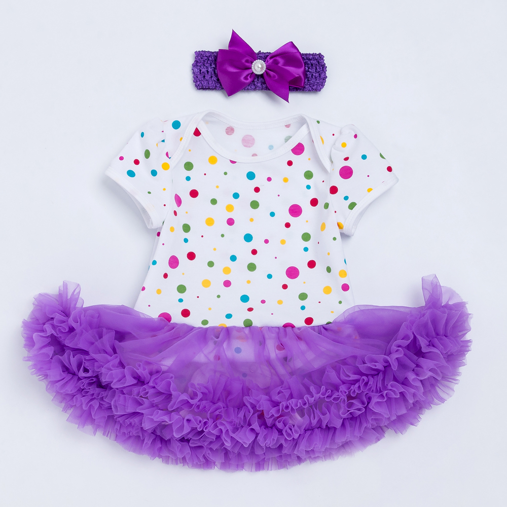 YK Loving colorful Polka Dot Girls Bodysuit Dress Purple Voile Ruffled Tutu Dresses Princess Style Girl Infantile Costume Summer in Dresses from Mother Kids