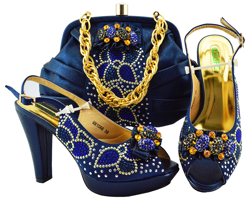 Shoes and Bag Set African Sets Navy blue Color Matching Italian Shoe and Bag Set Decorated with Rhinestone Nigerian Party Shoes 2018 new arrival pink color italian shoe with matching bags shoes and bag set african sets 2018 shoe and bag italian design sets