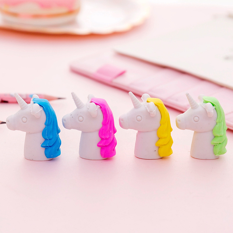 30pc/lot Creative Cartoon Unicorn Eraser/Kindergarten Student Stationery For Children/Christmas Creative Gifts