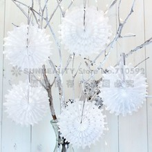 10pcs 35cm Snow White Tissue Paper Fan Snowflake Flowers Hanging Fans Crafts for Wedding  Home Cake Space Decor