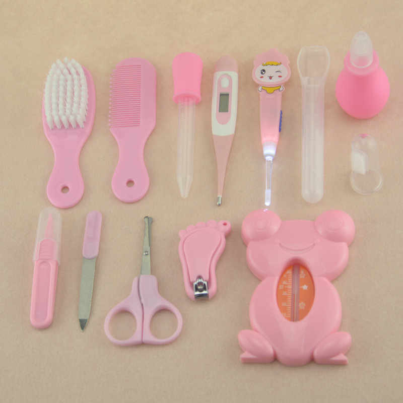 1 Set Pink Blue Multifunction Baby Boys Girls Kids Healthcare Kit Thermometer Grooming Brush Nail Clipper Gadget NSV775