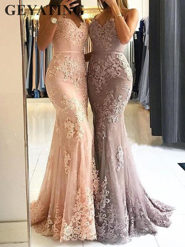 Blush Pink Lace Mermaid   Evening     Dress   Long Spaghetti Straps Sweetheart Appliques Women Formal   Dresses   2019 New Prom Party Gowns