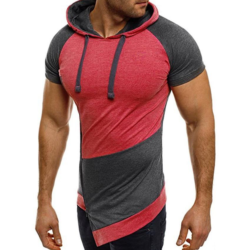 Men Patchwork Hooded Short Sleeve Shirt Zipper Tail Hoodies Slim Fit Hip Hop Streetwear Funny shirts Homme Camisetas Tee Tops