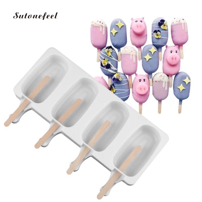 מזון כיתה סיליקון קרח מקבלי DIY גלידת עובש עם 10 PCS ארטיק מקלות קרח לולי תבניות אפיית כלים
