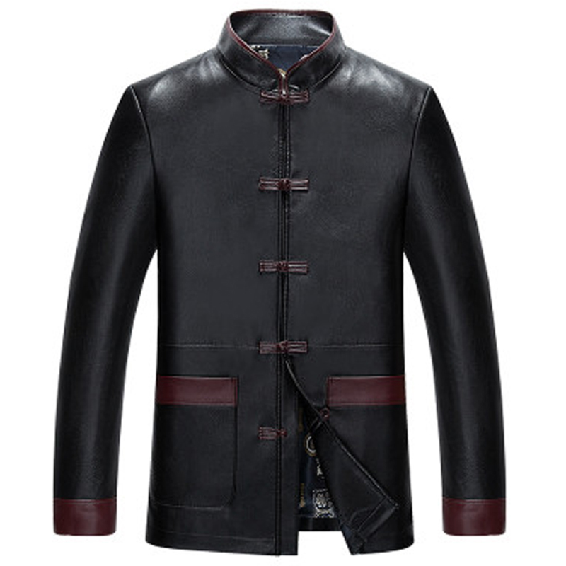 Famous Brand Chinese Traditional Design Mens Leather Jacket Coats Mens Tang Suit Leather Coats Horn Button XXXL Overcoat C1230