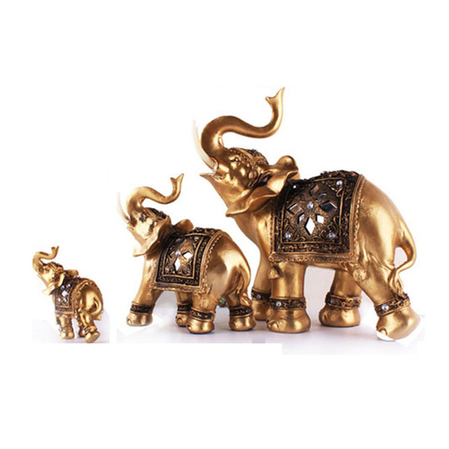 Home Decoration Figurine Southeast Asian Style Gold Elephant Eco-resin Craft Creative Living Room Ornament Business Wedding Gift