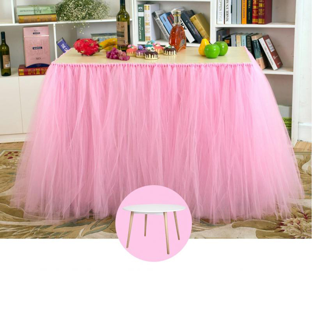 Table Skirt Tulle Tutu Tableware For Wedding Decoration Baby Shower Party