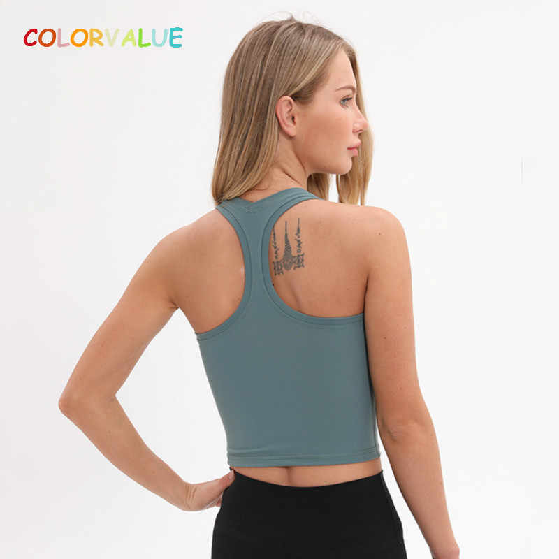 Colorvalue Flexible Racerback Sport Fitness Crop Tops Women Soft Nylon Running Yoga Gym Vest Plain Jogger Workout Tanks Tops