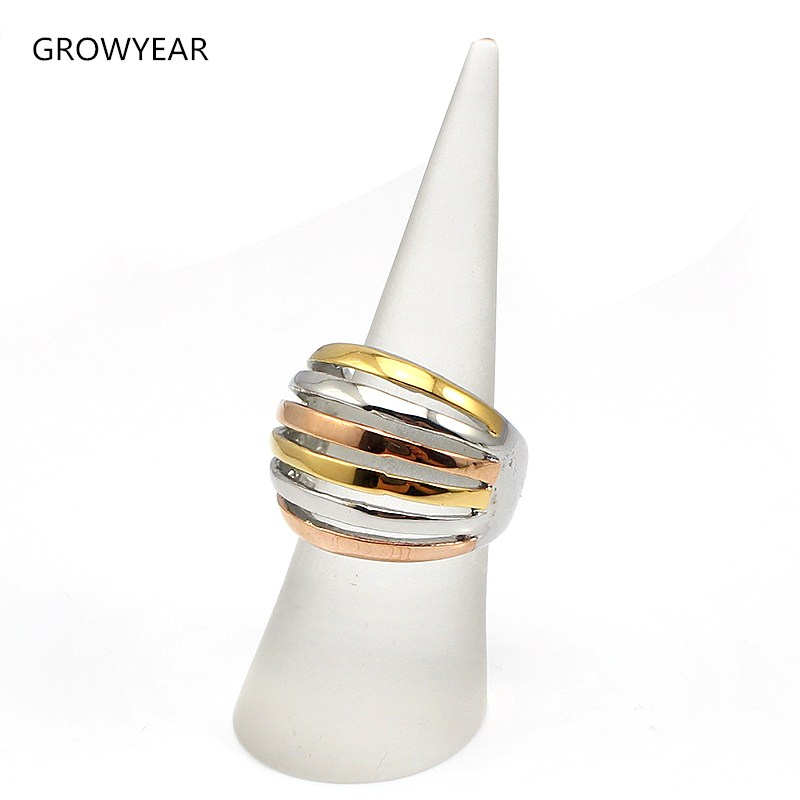 Hollow Striped Rings Bands Women Jewelry Rose Gold Silver Gold 3 Colors Plated Ring Size 6 7 8 9 Free Shipping