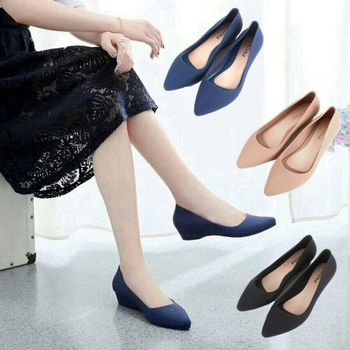 2019 New Women Simple Spring Summer Candy Color Pointed Flat Pointed Toe Chunky High Heels Shoes
