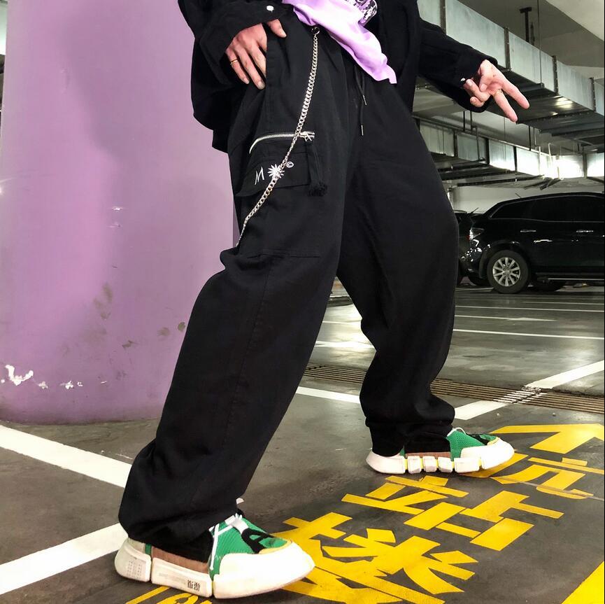 De Personalidad hop Grandes Calle Pantalones Etapa Alta La 2018 Negro Calidad Bolsillo Casuales Hombre Moda caqui Otoño Hip Monos Trajes Suelta Invierno YxwYIazqv