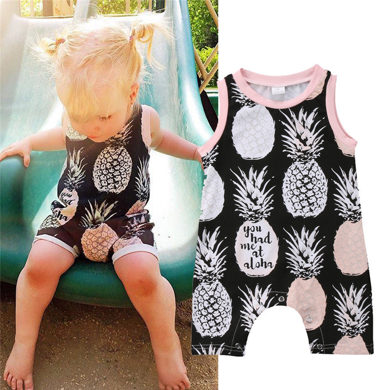 Pudcoco Newborn Infant Baby Girl Boy Print   Romper   Sleeveless Summer Clothes Jumpsuit Playsuits