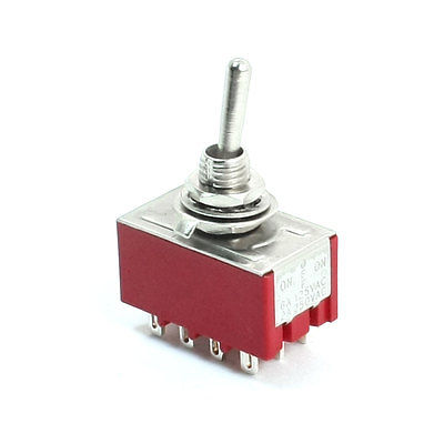 ON/OFF/ON 3 Positions 4PDT 12 Pin Terminal Rocker Type Toggle Switch AC 250V 2A MTS-403 5pc lot free shipping new long flat handle 3 pin on off on spdt cqc rohs silvery point rocker toggle switch ac 6a 125v 3a 250v