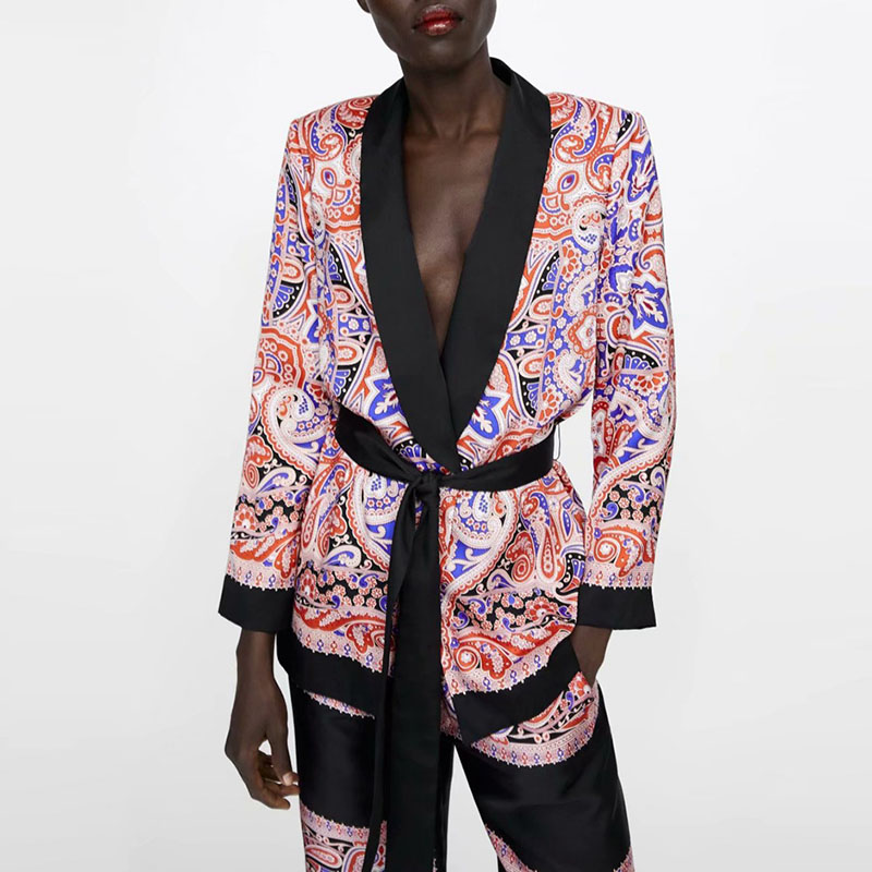 Fashion Patchwork Floral Suit Jacket With Sash Women Spring Slim Long Blouse Coat Elegant V Neck Office Coat Suit XZ1939